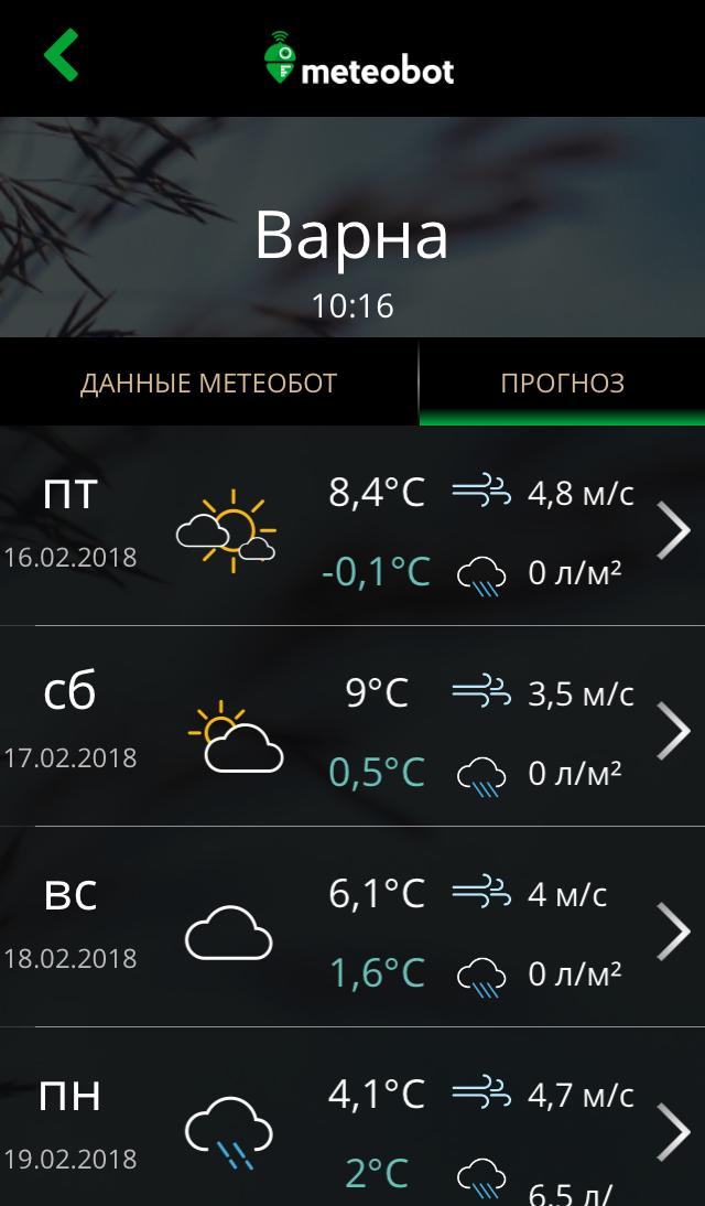 Локальный прогноз погоды на следующие 10 дней