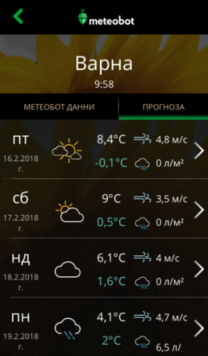 Meteobot App - локална прогноза за времето