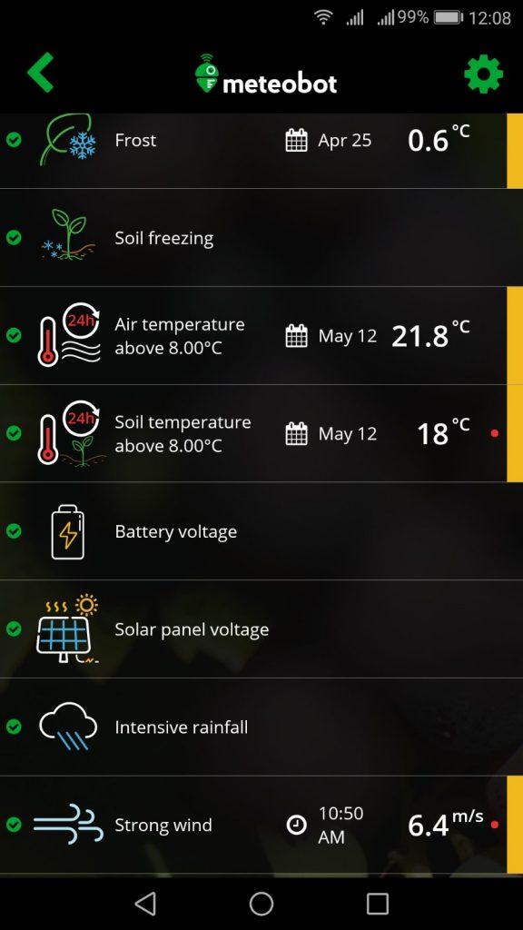 Alarm tab in Meteobot mobile app