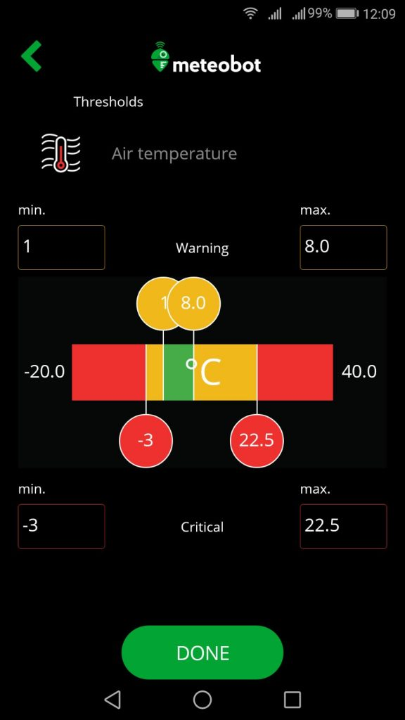 Settings of the warning and critical alarms in Meteobot mobile app