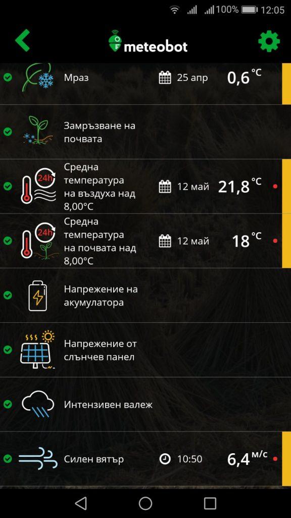 """Секция """"Аларми"""" в мобилното приложение Meteobot"""